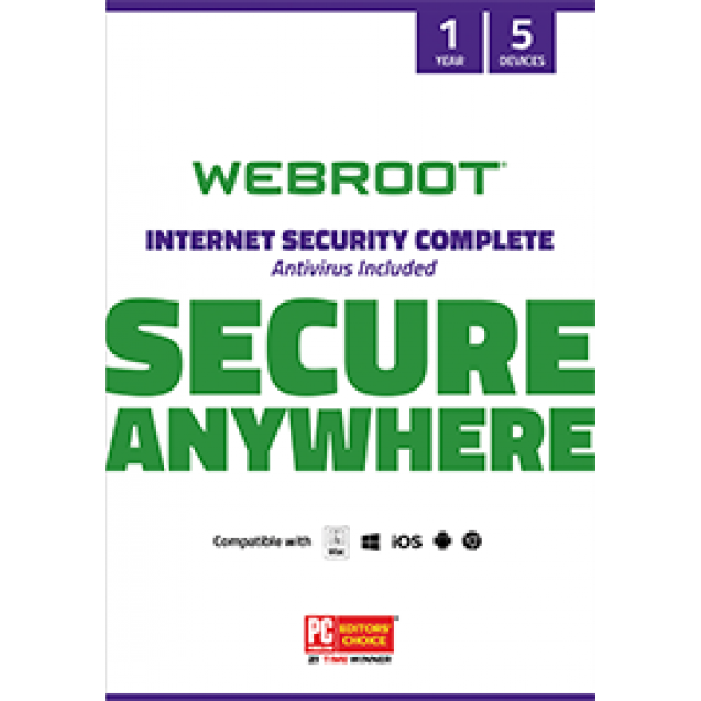 Webroot Secure Anywhere Internet Security Complete PCs, Macs, Tablets or Smartphones** +25GB Storage